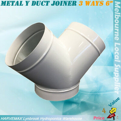 "Metal Y Duct Joiner 3 Ways 6"" Ventilation Fan Joint Hydroponics Y Connector"
