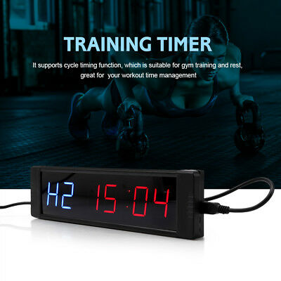 LED Display Programmable Interval Timer Wall Clock + Remote for Fitness Training