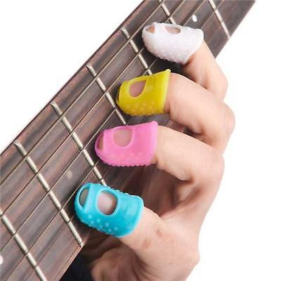 4x Silicone Guitar Fingertip Finger Pick Protectors For Bass Ukulele Beginner JJ
