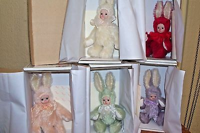 SET OF 5 BIT-O-BUNNY by MARIE OSMOND NRFB WITH MINT BOXES- COAS & HANG TAGS
