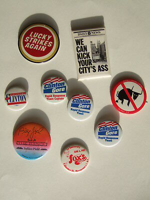 22 Pins buttons collection Vintage Billy Joel Lucky Strikes US Flag Dashin Dan