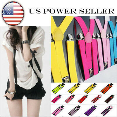 2pcs Mens Womens Clip-on Suspenders Elastic Y-Shape Adjustable Braces Solids USA