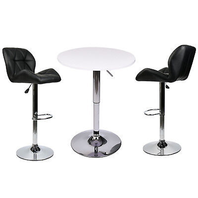 3 Piece Bar Table Set Pub Stool Counter Height Chairs Swivel Kitchen Furniture