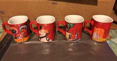 Nescafe Clasico Lot of 4 Red Themed Mugs Cups Mexico Mexican Cities
