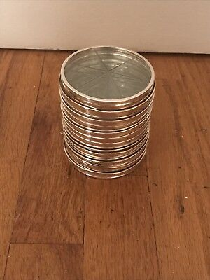 Lot Of 16 Vintage Sterling Silver Crystal Coasters Webster Set