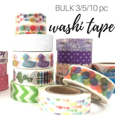 Washi tape BULK 3PC 5PC 10PC pack mix from 40 NEW patterns and glitter tape