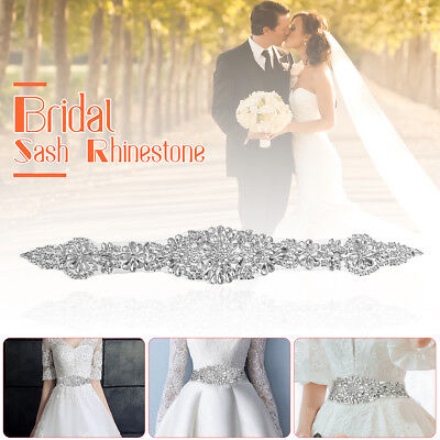 DIY Crystal Rhinestone Applique Sewing Wedding Bridal Belt Sash Crafts Dress US