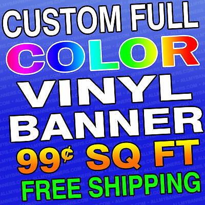 2'x8' Custom Full Color Vinyl Banner - Free Shipping -MWL