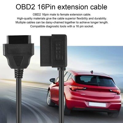 100CM OBDII OBD2 16Pin Male to Female Extension Cable Diagnostic Extender Cord ~