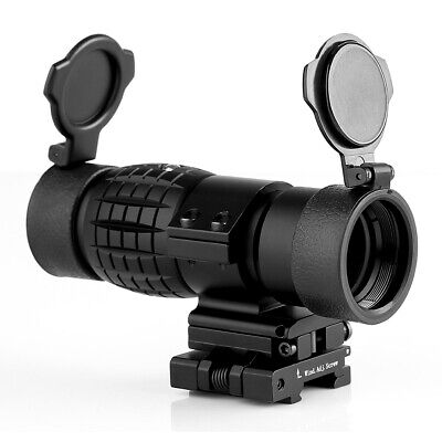 3X Magnifier Tactical Scope Sight with Flip To Side 20mm Rail Mount Hunting