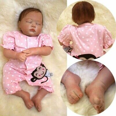 22'' Lifelike Baby Girl Doll Silicone Vinyl Reborn Newborn Sleeping Dolls +Cloth