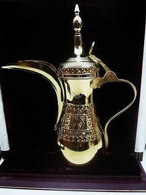 Silver Gilt Dallah Coffee Pot in Case, State of Qatar, Sterling