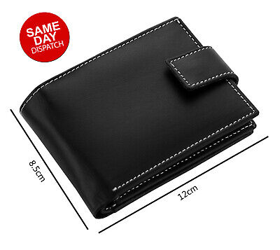 Mens GENUINE Leather Wallet Slim RFID Blocking Trifold pocket Purse Card Holder