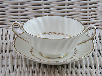 Royal Doulton H4816 Adrian Soup Coup Bowl And Saucer Fluted White & Gold Trim