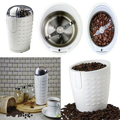 Electric Herb Coffee Grinder Stainless Steel Blades Spices Nuts Ovente White New