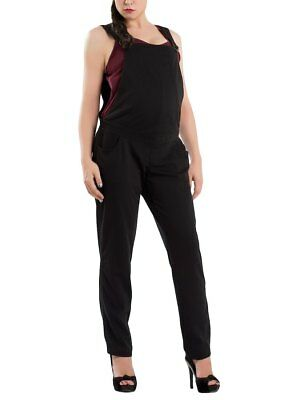 Maternity Pregnancy Cotton Jersey Dungarees Black Over Bump 10 12 14 16