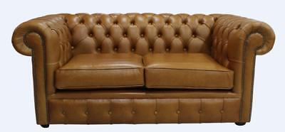 Chesterfield 2 Seater Sofa Settee Heritage Caramel Tan Brown Leather