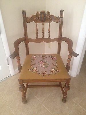 Antique Carved Wood Embroidered Chair Berkey & Gay Furniture Elizabethan