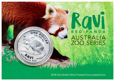 2018 Australia Zoo - Ravi the Red Panda 1 oz Silver $1 Coin GEM BU OGP SKU51988