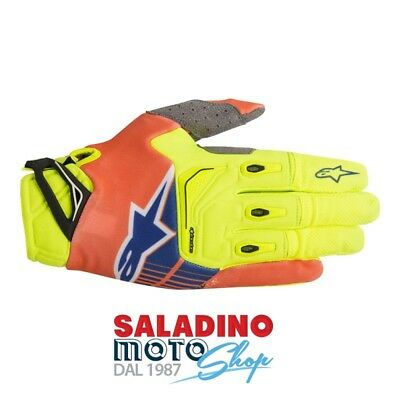 Guanti Cross Alpinestars Techstar Gloves Giallo Arancione Fluo Blu 3561018