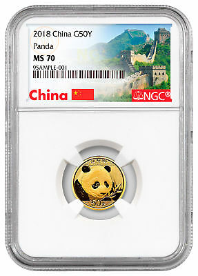 2018 China 3 g Gold Panda ¥50 NGC MS70 Exclusive Great Wall Label SKU52229