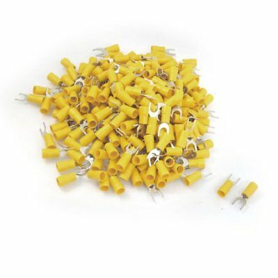 12-10 AWG Yellow PVC Sleeve Insulating Fork Terminals Connector 500 Pcs