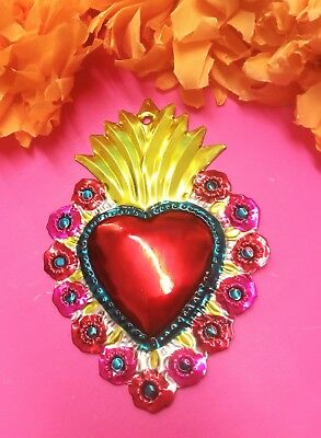 Authentic Mexican Tin Folk Art Flaming Sacred Heart Milagro w/Flowers Pink/Gold