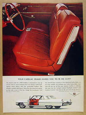 1964 Cadillac Coupe deVille white car red interior photos vintage print Ad