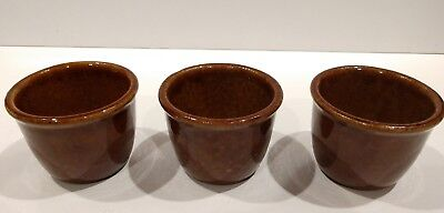Vintage Antique Set of 3 Dark Brown Rice Bowls Cups  Sauce Containers Holders