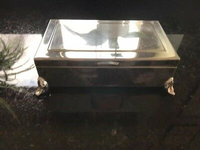 Antique Silver Plated Jewellery Box (old Cigar Box)