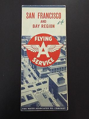 Flying A Service San Francisco and Bay Region Vintage Map