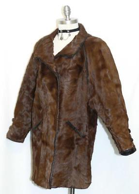 REAL ~ COW FUR ~ BROWN Leather German Women Western Ranch Rodeo Coat JACKET L