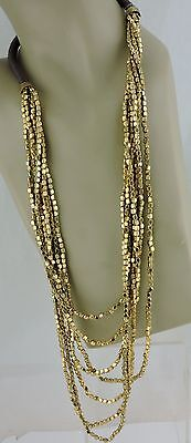 Vintage ? 7 Row Gold Tone Metal Bead & Cord Necklace Modern Art Deco Style