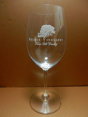 Becker Vineyards Stemmed Riedel Crystal Wine Glass Stonwall Texas Hill Country