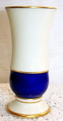 Vintage German Heubach Art Deco Blue & White w/ Gold Trim Vase Circa 1925 - 1936