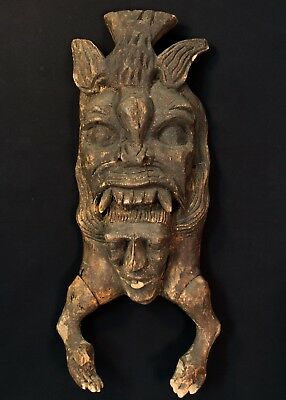 Mexican Folk Art -  Mid 20th Century Primative, Carved Copal Wood Jaguar Mask