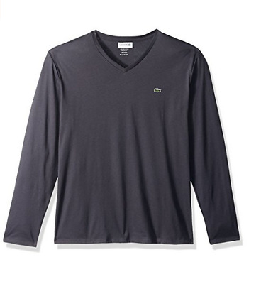 607d6d0964 LACOSTE MEN'S LONG Sleeve V Neck T-Shirt Graphite size 9 /4XL