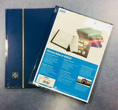x2* BLUE* A4 PREMIUM STAMP ALBUM StockBooks -8 Pages/ 16sides ~BLACK PAGES