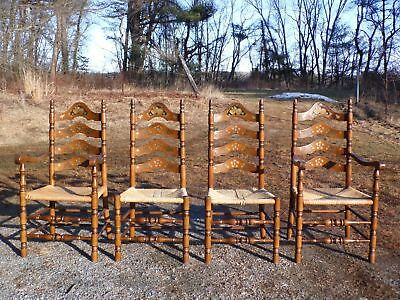 Vintage Set of 4 Solid Maple Stenciled Ladder Back Dining Chairs Rush Seats