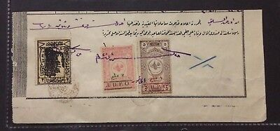RRRR Ottoman Syria Hedjaz Railway 2 PS + 2 A.D.P.O Revenue Stamps Used On Piece