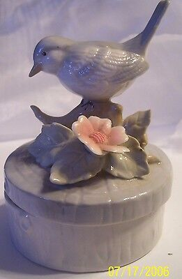 Cute Vintage Bluish Grey Bird Porcelain Trinket Box by Price Products