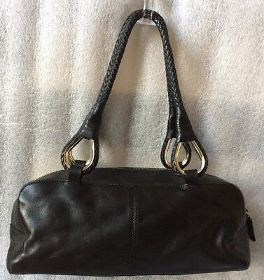 Mercer And Madison Black Leather Braided Strap Baguette Satchel Handbag Zip