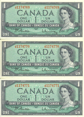 Bank of Canada 1954 $1 One Dollar Lot of 3 Consecutive Notes J/M Prefix AU+