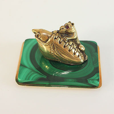Sterling Silver Miniature Sculpture Dog Mouse and Shoe on Malachite base