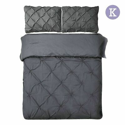 Giselle Bedding Pinch Pleat Diamond Duvet Doona Quilt Cover Set King Charcoal