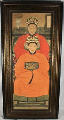 "Framed Chinese Ancestor Ancestry Portrait Paper Scroll Painting 53"" x 26"""