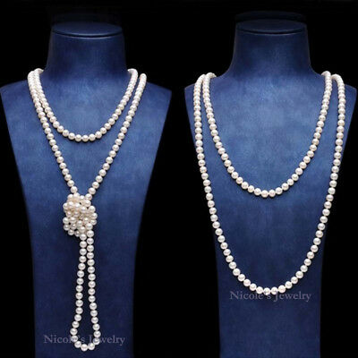 150cm Long Glass Faux Pearl Necklace 1920's Charleston Gatsby Burlesque Wedding