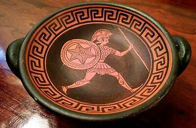 Ancient Greek Kylix 480 BC Museum Replica Reproduction Vtg Art Pottery Wine Cup