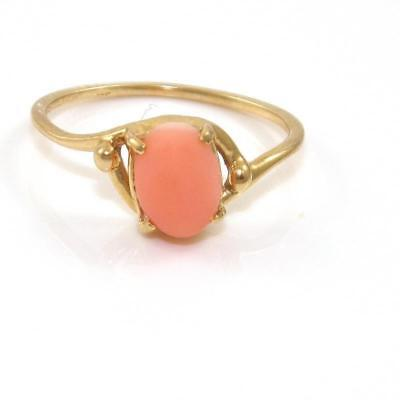 Vintage Solid 14K Yellow Gold Peach Angel Skin Coral Estate Ring Size 6.75