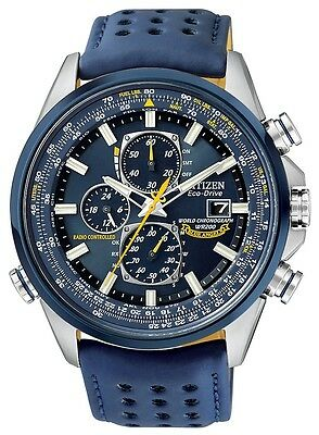 Mens Citizen Eco-Drive Blue Angels Perpetual Atomic Leather Watch AT8020-03L